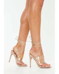 Missguided - Nude Clear Strap Lace Up Heeled Sandal - Lyst