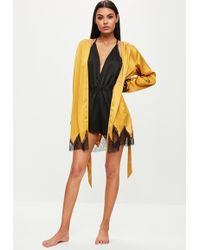 Missguided - Gold Saatin Lace Insert Robe - Lyst