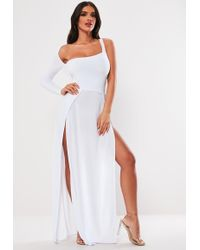85e2323aa9797 Lyst - Missguided White One Shoulder Long Sleeve Split Maxi Dress in ...