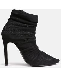 Missguided Mesh Ruched High Heel Sock Boots - Black