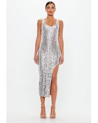 Missguided - Peace + Love Silver Embellished Midi Dress - Lyst