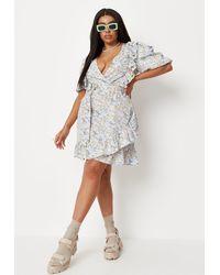Missguided - Plus Size Floral Wrap Ruffle Mini Dress - Lyst