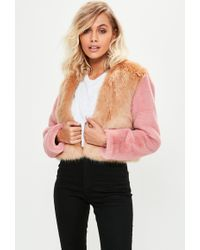 Missguided - Brown Faux Fur Cropped Coat - Lyst