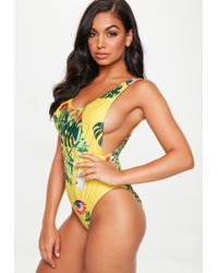 178c731ac3 Lyst - Missguided Blue Paisley Print High Leg Low Side Swimsuit in Blue
