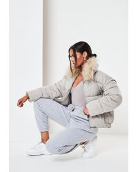 Missguided Ultimate Faux Fur Puffer Jacket - Grey