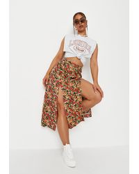 Missguided Floral Print Side Split Midaxi Skirt - Red