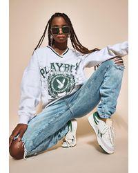 Missguided X Gray Marl Extreme Oversized Varsity Graphic V Neck Sweatshirt