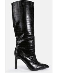 Missguided Mock Croc Tubular Calf Stiletto Boots - Black