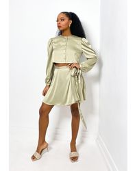 Missguided - Olive Co Ord Satin Wrap Mini Skirt - Lyst