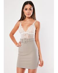 Missguided - Grey Belted Mini Skirt - Lyst