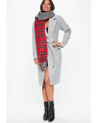 Missguided - Grey Longline Belted Coat - Lyst