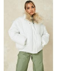 Missguided Ultimate Faux Fur Collar Puffer Jacket - White