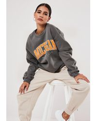 Missguided Grey Michigan Graphic Sweatshirt