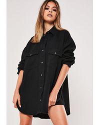 Missguided Premium Black Super Oversized Boyfriend Denim Shirt