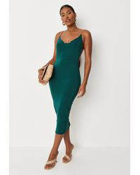 Missguided Chain Back Cowl Neck Double Layer Slinky Midaxi Dress - Green