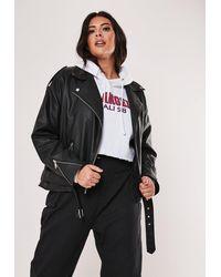 Missguided Plus Size Black Faux Leather Oversized Boyfriend Biker Jacket