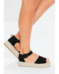 Missguided Black Two Part Peep Toe Espadrille Sandals