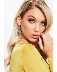 Missguided - Gold Look Coin In Hoop Earring - Lyst