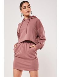 Missguided Rose Crop Hoodie And Skirt Co Ord Set - Pink