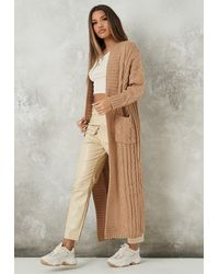 Missguided Cable Oversized Knit Maxi Cardigan - Natural