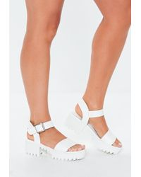 911e9db3c39 Lyst - Missguided Block Heel Lace Up Sandal Nude in Natural