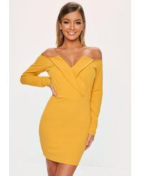Missguided - Mustard Yellow Bardot Foldover Wrap Dress - Lyst