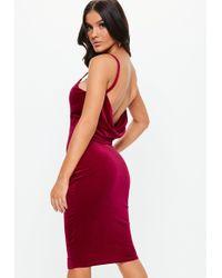 ad6d4133fcbd Lyst - Missguided Burgundy Knot Wrap Velvet Dress in Red