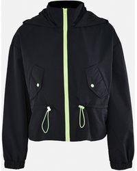 Missguided Contrast Neon Drawstring Windbreaker Jacket - Black