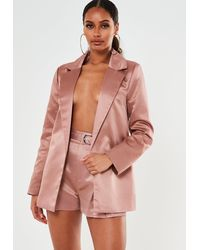 Missguided Co Ord Satin Tailored Shorts - Pink