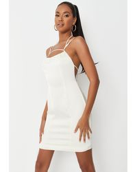 Missguided Tall Cream Ruched Front Cross Back Satin Mini Dress - Natural