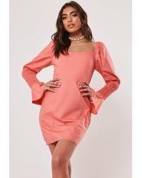 Missguided Coral Poplin Shirred Sleeve Milkmaid Mini Dress - Pink