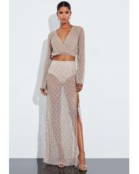 Missguided Nude Silver Drop Pearl Embellished Drape Maxi Skirt - Natural