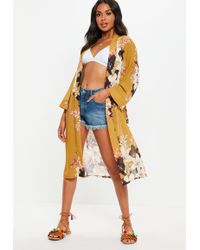 Missguided Mustard Belted Floral Cover Up - Multicolor