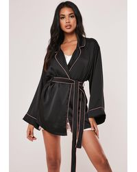 Missguided Kimono Piping Detail Dressing Gown - Black