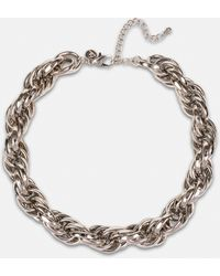 Missguided Look Twist Chunky Chain Necklace - Metallic