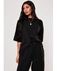 Missguided Black Drop Shoulder Oversized T Shirt