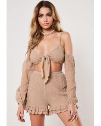 Missguided Brown Gingham Print Mini Skirt Crop Top Co Ord Set