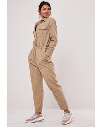 Missguided Stone Cord Utility Dungaree Romper - Natural