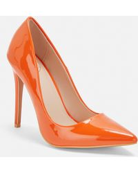 Missguided Neon Orange Patent Court Heels