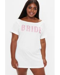 Missguided Plus Size White Bride Slogan Night Tee