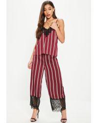 Missguided - Burgundy Lace Hem Stripe Wide Leg Culotte Trousers - Lyst