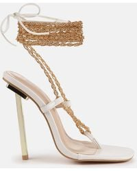 Missguided - Chain Tie Up Toe Post Heeled Sandals - Lyst