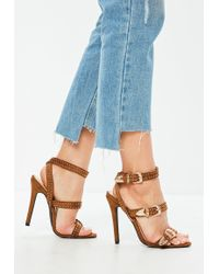 9c08e19373c Missguided - Tan Suedette Western Stud Strappy Barely There Heels - Lyst