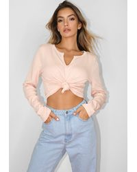 Missguided Notch Neck Knot Front Crop Top - Multicolor