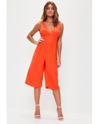 Missguided - Orange Plunge Front Culotte Jumpsuit - Lyst