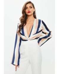 Missguided - Nude Striped Satin Drape Front Bodysuit - Lyst
