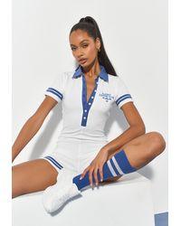Missguided Combishort de Sport Blanc Côtelé Style Polo à Détail Brodé Playboy x