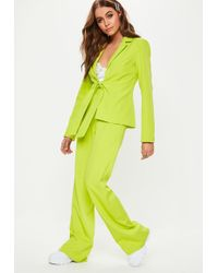 a02d50717f7a3 Missguided - Lime Woven Crepe Wide Leg Co Ord Trousers - Lyst
