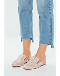 Missguided - Pink All Over Embellished Slip On Mule - Lyst