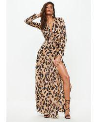 Missguided Gold Leopard Print Wrap Front Maxi Dress - Metallic